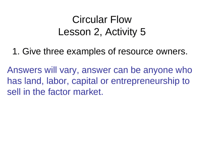 Circular Flow Lesson 2, Activity 5 1  Give three examples of